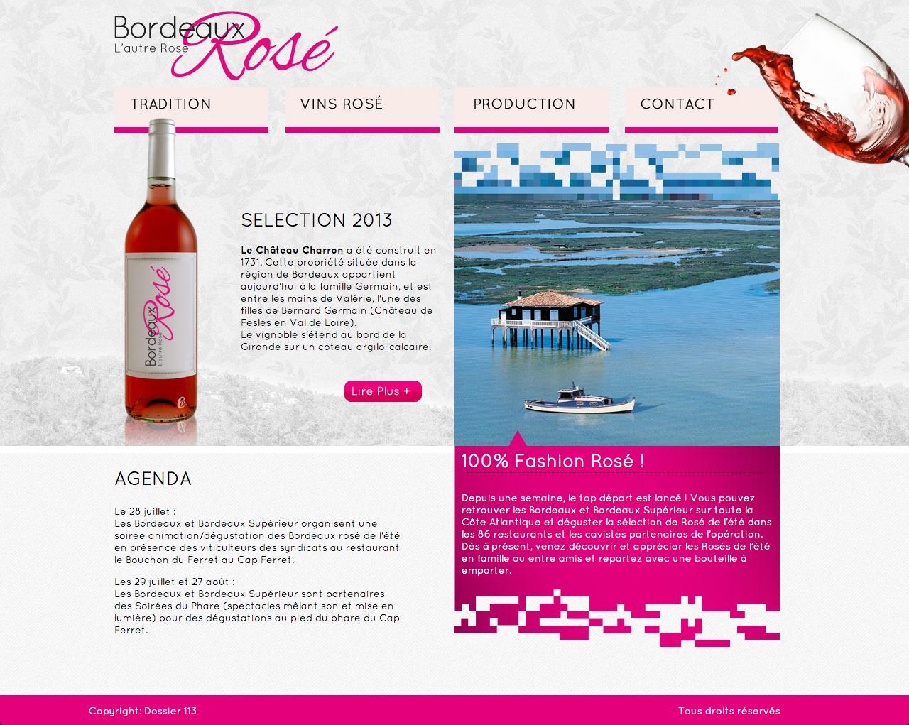 Proposition de web design pour le concours Bordeaux Rosé